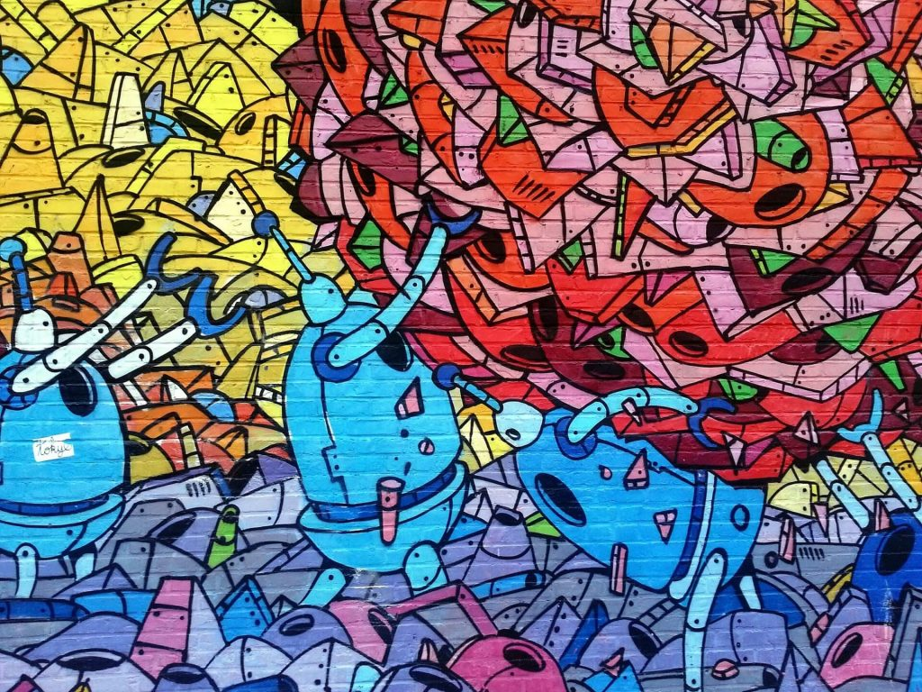 Een muurschildering kan zowel kleurrijk als sober zijn